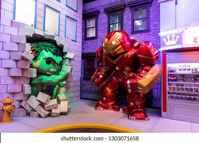 Everett, Washington/USA - February 2, 2019: General view of the Incredible Hulk and Iron Man display at Funko Headquarters flagship store in Everett, WA