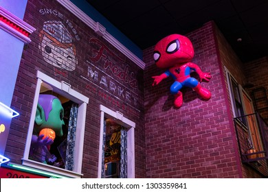 Everett, Washington/USA - February 2, 2019: General view of Spiderman display inside Funko Headquarters flagship toy store in Everett, Washington