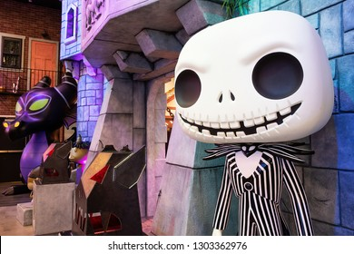 Everett, Washington/USA - February 2, 2019: General view of Jack Skellington of the Nightmare Before Christmas display at Funko headquarters in Everett, Washington