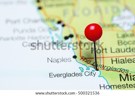 Map Of Florida Everglades.Everglades City Pinned On Map Florida Stock Photo Edit Now