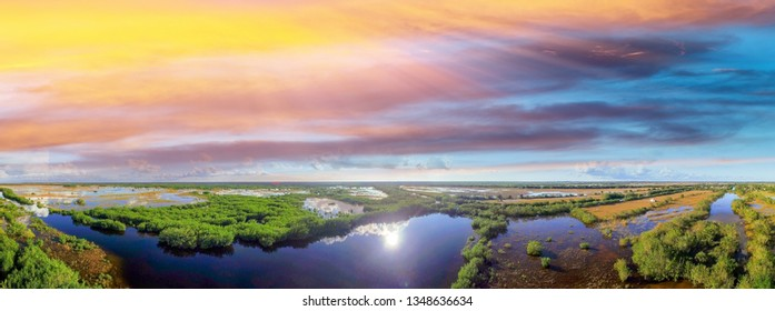 Everglades colors in Florida. Aerial view at dusk.