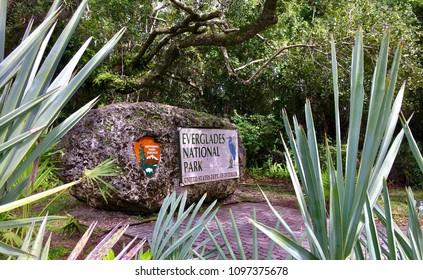 Everglades, Florida, USA - July 22, 2016: The Entrance Sign of Everglades National Park. Everglades National Park is a U.S. National Park in Florida that protects the southern original Everglades
