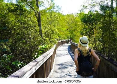 Everglades National Park Boardwalk in Florida - Girl Exploring
