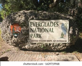 Everglades National Park Entrance Sign in Miami, Florida