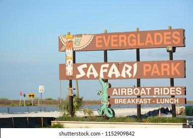 EVERGLADES, UNITED STATES - APRIL 8, 2018: Everglades Safari Park in Everglades National Park, Florida