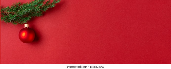 Evergreen branch with red Christmas ball on red background. New Year banner with place for text.