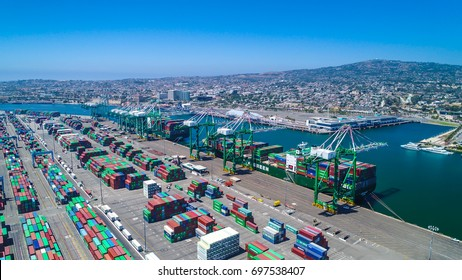 Evergreen Cargo Terminal Los Angeles California. Aug 8, 2017