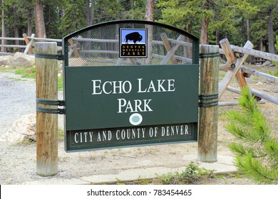 Evergreen, CO, USA - August 24, 2017: Denver Mountain Parks, Echo Lake Park sign off Squaw Pass at 10,600 elevation. Public Echo Lake Park is 600 acres near Mount Evans.