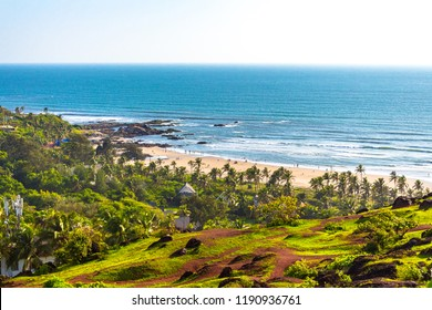 Evergreen natural beauty of Vagator beach from the top of Chapora Fort, Goa, India, Asia. Vagator Beach is one of the most beautiful beaches in north Goa. It is located in Bardez taluk of Goa.