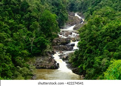 Evergreen tropical rainforest with rocky small waterfall crossing in the middle in Ranomafana national park Madagascar