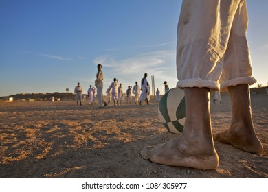 Every Day football games are organised on the central square of the el Arr village in the northern Sudan