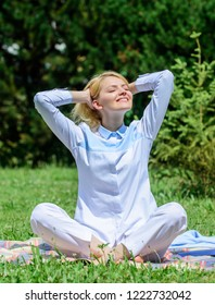 Every day meditation. Reasons you should meditate every day. Clear your mind. Girl meditate on rug green grass meadow nature background. Find minute to relax. Woman relaxing practicing meditation.