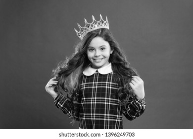 Every girl dreaming become princess. Lady little princess. Girl wear crown red background. Spoiled child concept. Egocentric princess. World spinning around me. Kid wear golden crown symbol princess.