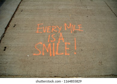 Every Mile is a Smile wrote to encourage runners on the seafront promenade at Whitby