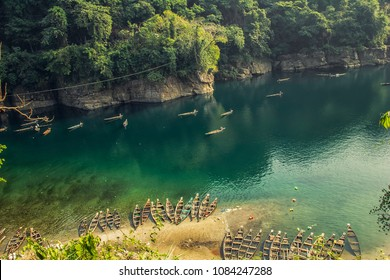 Everyday Fishing on Dawki river in Dawki ,India Bangladesh Border, Meghalaya, India