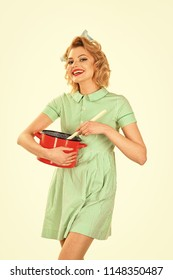 Everyday life, housework. everyday lifeof housewife with pot cooking isolated on white