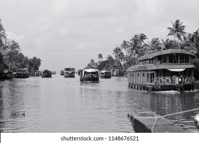 Everyday number of houseboats will sail through the backwaters of Alappuzha, Kerala. This is one of the major attractions of Kerala and one pf their major income. This was captured on Sep 6, 2017.
