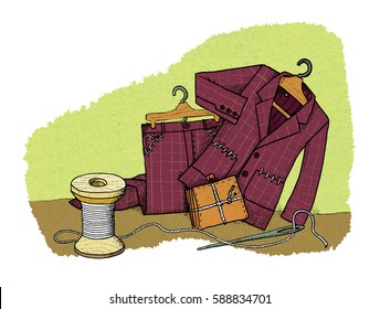Everyday savings - men's suit on the rack with sewn pockets and knotted purse near the spools of thread and a needle and thread. Humor.