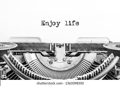Everyone has a Story, typed words on a vintage typewriter. old paper, life history