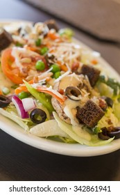 Everything delicious organic vegatable salad with ranch dressing