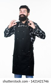 Everything is OK. Grill cook or barber expressing ok to meal or hairstyle. Happy hipster smiling and gesturing ok sign. Bearded man showing ok hand gesture.