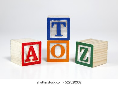 Everything from A to Z concept in colorful toy blocks. Horizontal.