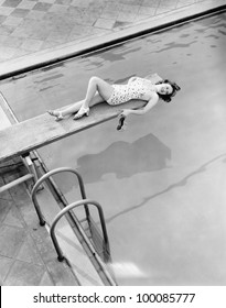 Everything's above board for young woman at the pool