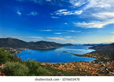 "EVIA (""EUBOEA"") ISLAND, GREECE. Panoramic view of Almyropotamos bay. To the left, Panagia village, to the right Aghios Demetrios village."