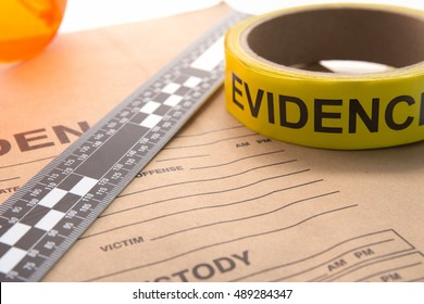 evidence bag with marker tape and ruler  for forensic in crime scene investigation