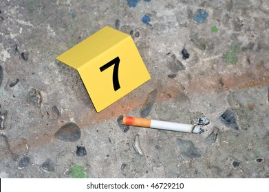 Evidence at a fresh crime scene: ash, a cigarette with lipstick markings on it, next to a placard
