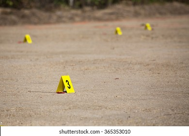 evidence number tag in  explosion  crime scene