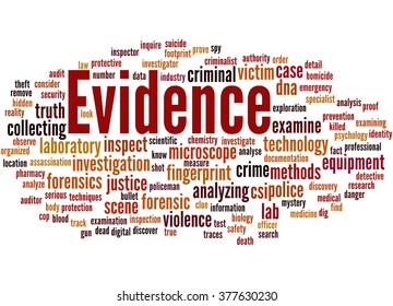 Evidence, word cloud concept on white background.