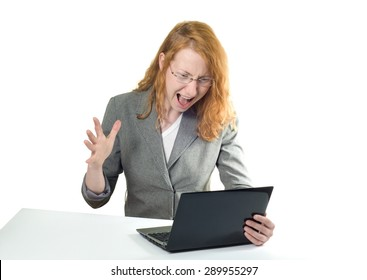 evil angry boss on white background