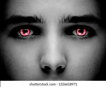 Evil black alien vampire or zombie eyes.   Close up shot