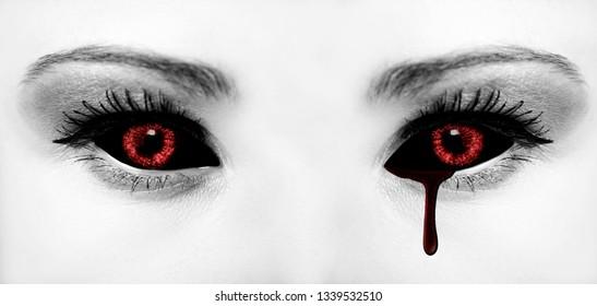 Evil black alien vampire or zombie eyes. Close up shot.
