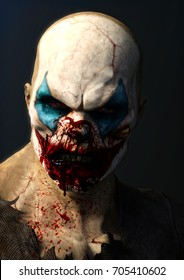 Evil blood thirsty clown . 3d rendering.