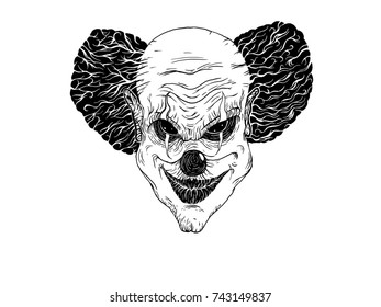 Evil clown face. Hand drawn ink style. Raster illustration.