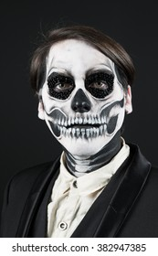 Evil day of the dead fancy dress close up