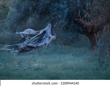 Evil demon flies in the air with waving mantle, background the forest above the lawn with emerald frozen grass covered with hoarfrost. Angel of Death as a decoration for halloween. art photo.