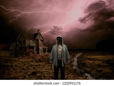 Evil Demon Zombie Ghost Monster Holding Knife Outside Haunted House In Lightening Storm ,including blood, wounds, gore and scary eyes with an haunting dark and moody atmosphere.