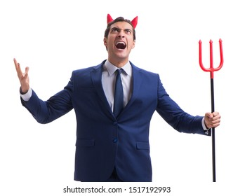 Evil devil businessman with pitchfork isolated on white backgrou