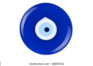 Evil eye amulet on white background protect from bad things using by turkish culture