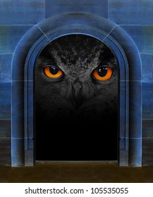Evil eye in ancient stone gate. Horror scene with space for your text.