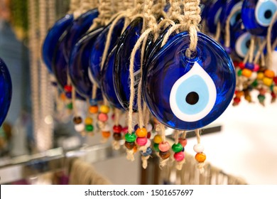 Evil eye bead protection amulet in the shop or market. One of the most popular souvenirs from Istanbul, Turkey 2019-08-11.