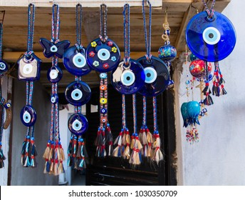Evil eye bead souvenirs.broken glass is melted and shaped. In culture and religious belief, the figure of the eye is regarded as a powerful amulet protecting evil. It is a powerful talisman in Turkish