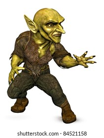 Evil green Goblin demon attacking or casting a spell. three-quarter view. Isolated white background. Original cutout clip art  illustration