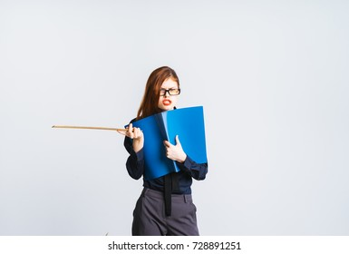 evil lady in a suit holds a pointer and folder in hands on a white background, isolated