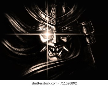 the evil mask of a samurai