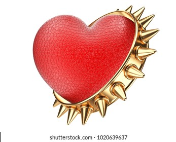 Evil red heart covered leather and golden ring with thorns. Isolated over white background 3d illustration.