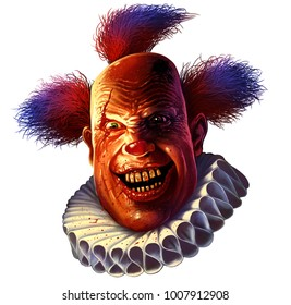 Evil scary smiling clown. Halloween circus character on white background.